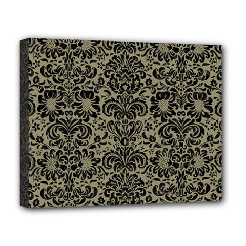 Damask2 Black Marble & Khaki Fabric Deluxe Canvas 20  X 16   by trendistuff