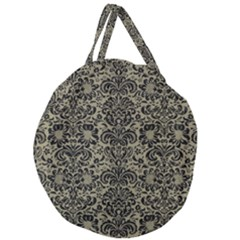 Damask2 Black Marble & Khaki Fabric Giant Round Zipper Tote by trendistuff