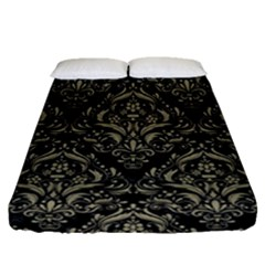 Damask1 Black Marble & Khaki Fabric (r) Fitted Sheet (queen Size) by trendistuff