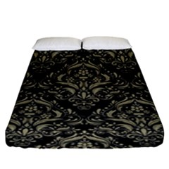 Damask1 Black Marble & Khaki Fabric (r) Fitted Sheet (king Size) by trendistuff