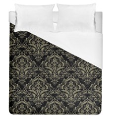 Damask1 Black Marble & Khaki Fabric (r) Duvet Cover (queen Size) by trendistuff