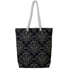Damask1 Black Marble & Khaki Fabric (r) Full Print Rope Handle Tote (small) by trendistuff