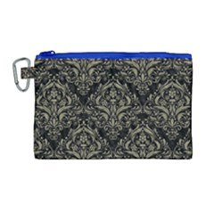 Damask1 Black Marble & Khaki Fabric (r) Canvas Cosmetic Bag (large) by trendistuff