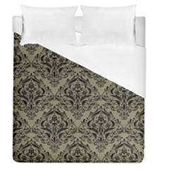 Damask1 Black Marble & Khaki Fabric Duvet Cover (queen Size) by trendistuff
