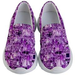 Modern Geo Fun,lilac Kid s Lightweight Slip Ons by MoreColorsinLife