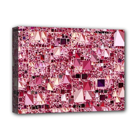 Modern Geo Fun,pink Deluxe Canvas 16  X 12   by MoreColorsinLife