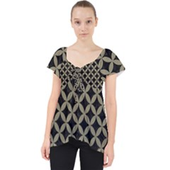 Circles3 Black Marble & Khaki Fabric (r) Lace Front Dolly Top