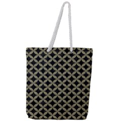 Circles3 Black Marble & Khaki Fabric (r) Full Print Rope Handle Tote (large) by trendistuff