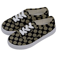 Circles2 Black Marble & Khaki Fabric (r) Kids  Classic Low Top Sneakers by trendistuff