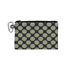 Circles2 Black Marble & Khaki Fabric (r) Canvas Cosmetic Bag (small) by trendistuff