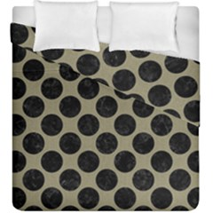 Circles2 Black Marble & Khaki Fabric Duvet Cover Double Side (king Size) by trendistuff