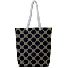 Circles2 Black Marble & Khaki Fabric Full Print Rope Handle Tote (small) by trendistuff