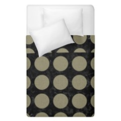 Circles1 Black Marble & Khaki Fabric (r) Duvet Cover Double Side (single Size) by trendistuff
