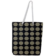 Circles1 Black Marble & Khaki Fabric (r) Full Print Rope Handle Tote (large) by trendistuff