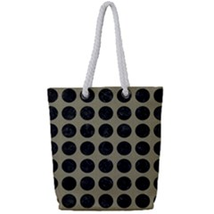 Circles1 Black Marble & Khaki Fabric Full Print Rope Handle Tote (small) by trendistuff