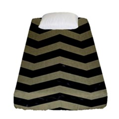 Chevron3 Black Marble & Khaki Fabric Fitted Sheet (single Size) by trendistuff