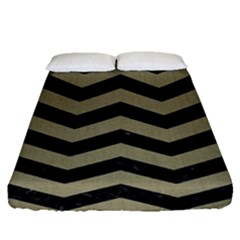 Chevron3 Black Marble & Khaki Fabric Fitted Sheet (queen Size) by trendistuff