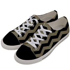 Chevron3 Black Marble & Khaki Fabric Women s Low Top Canvas Sneakers by trendistuff
