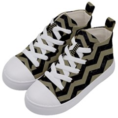Chevron3 Black Marble & Khaki Fabric Kid s Mid Top Canvas Sneakers by trendistuff