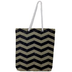 Chevron3 Black Marble & Khaki Fabric Full Print Rope Handle Tote (large) by trendistuff