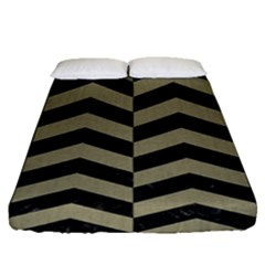 Chevron2 Black Marble & Khaki Fabric Fitted Sheet (queen Size) by trendistuff