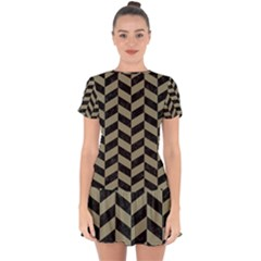 Chevron1 Black Marble & Khaki Fabric Drop Hem Mini Chiffon Dress by trendistuff