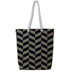 Chevron1 Black Marble & Khaki Fabric Full Print Rope Handle Tote (small) by trendistuff