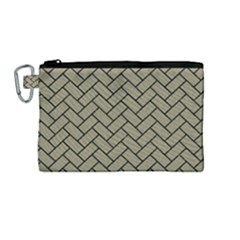 Brick2 Black Marble & Khaki Fabric Canvas Cosmetic Bag (medium) by trendistuff