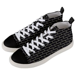 Brick1 Black Marble & Khaki Fabric (r) Men s Mid Top Canvas Sneakers by trendistuff