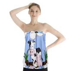 Friends Not Food   Cute Pig And Chicken Strapless Top
