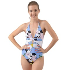 Friends Not Food   Cute Pig And Chicken Halter Cut Out One Piece Swimsuit