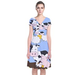 Friends Not Food   Cute Pig And Chicken Short Sleeve Front Wrap Dress