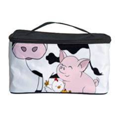 Friends Not Food - Cute Pig And Chicken Cosmetic Storage Case by Valentinaart