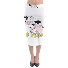Friends Not Food   Cute Pig And Chicken Midi Pencil Skirt