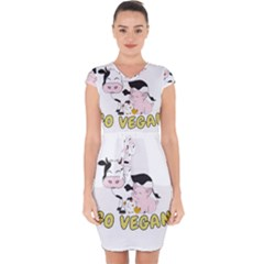Friends Not Food   Cute Pig And Chicken Capsleeve Drawstring Dress
