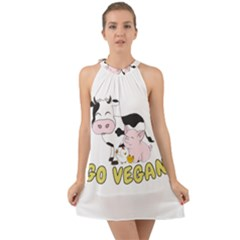 Friends Not Food   Cute Pig And Chicken Halter Tie Back Chiffon Dress