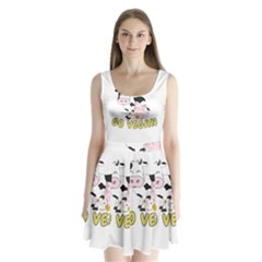 Friends Not Food   Cute Pig And Chicken Split Back Mini Dress