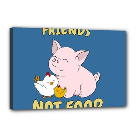 Friends Not Food   Cute Pig And Chicken Canvas 18  X 12  by Valentinaart