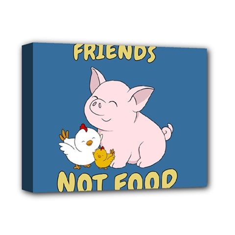 Friends Not Food   Cute Pig And Chicken Deluxe Canvas 14  X 11