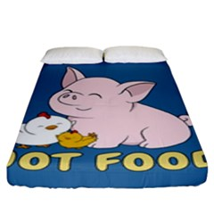 Friends Not Food - Cute Pig And Chicken Fitted Sheet (king Size) by Valentinaart