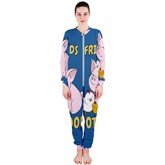Friends Not Food   Cute Pig And Chicken Onepiece Jumpsuit (ladies)