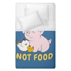 Friends Not Food   Cute Pig And Chicken Duvet Cover (single Size) by Valentinaart