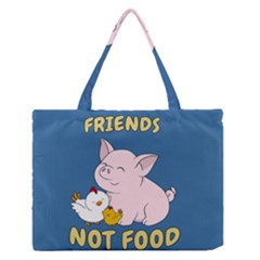 Friends Not Food   Cute Pig And Chicken Zipper Medium Tote Bag