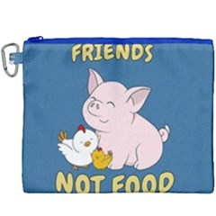 Friends Not Food   Cute Pig And Chicken Canvas Cosmetic Bag (xxxl) by Valentinaart