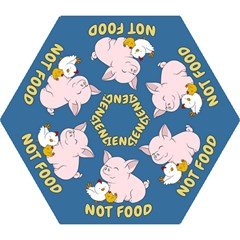 Friends Not Food   Cute Pig And Chicken Mini Folding Umbrellas