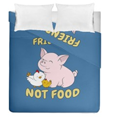 Friends Not Food   Cute Pig And Chicken Duvet Cover Double Side (queen Size) by Valentinaart
