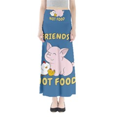 Friends Not Food   Cute Pig And Chicken Full Length Maxi Skirt