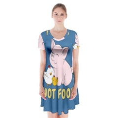 Friends Not Food - Cute Pig And Chicken Short Sleeve V-neck Flare Dress by Valentinaart