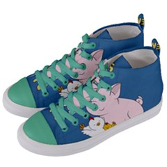 Friends Not Food   Cute Pig And Chicken Women s Mid Top Canvas Sneakers by Valentinaart