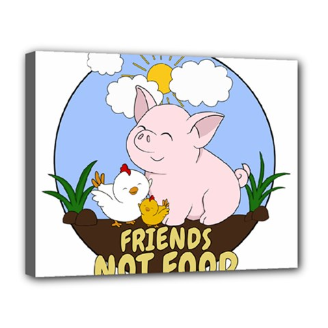 Friends Not Food   Cute Pig And Chicken Canvas 14  X 11  by Valentinaart